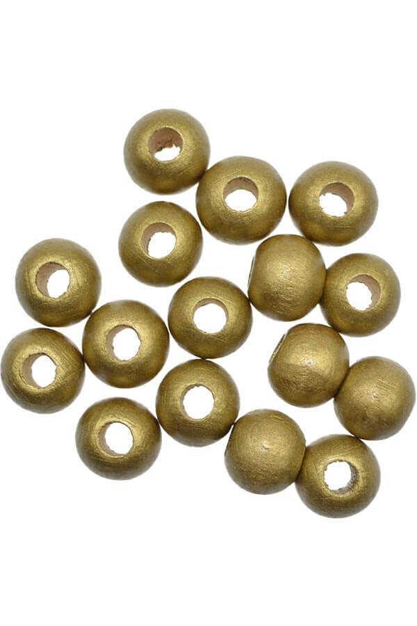 AHŞAP BONCUK 151 GOLD RENGİ 20 MM 25 GR