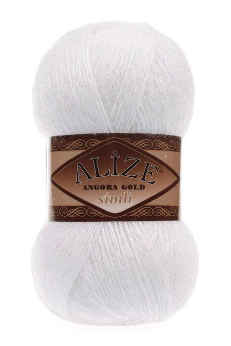 ALİZE - ALİZE ANGORA GOLD SİMLİ 55 Beyaz