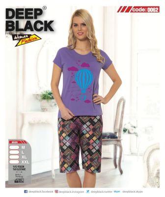DEEP BLACK - DEEP BLACK 0062 KAPRİ PİJAMA TAKIMI