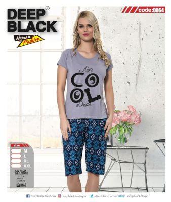 DEEP BLACK - DEEP BLACK 0064 KAPRİ PİJAMA TAKIMI
