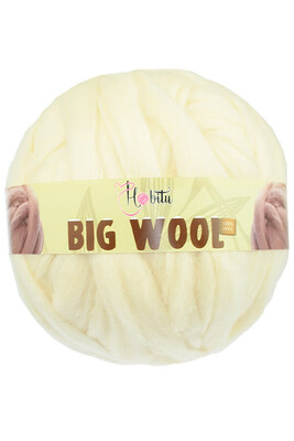 HOBİTU YARNS - HOBİTU BIG WOOL 1000 GR 01 Krem