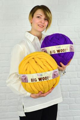 HOBİTU BIG WOOL 1000 GR 08 Koyu Sarı - Thumbnail