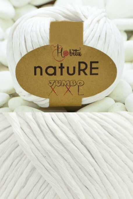 HOBİTU YARNS - HOBİTU NATURE JUMBO XXL COTTON 151 Beyaz