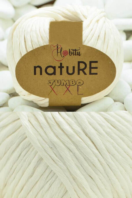 HOBİTU YARNS - HOBİTU NATURE JUMBO XXL COTTON 152 Ekru