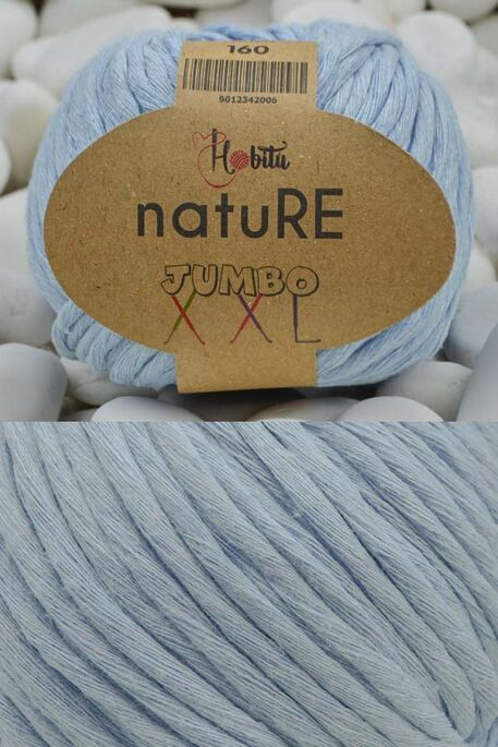 HOBİTU YARNS - HOBİTU NATURE JUMBO XXL COTTON 160 Bebe Mavi