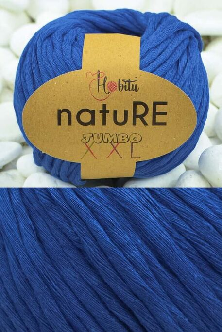 HOBİTU YARNS - HOBİTU NATURE JUMBO XXL COTTON 172 Saks Mavi