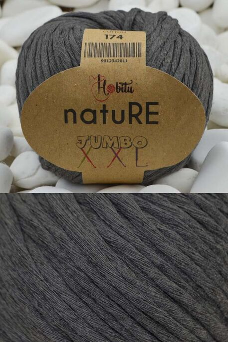 HOBİTU YARNS - HOBİTU NATURE JUMBO XXL COTTON 174 Füme