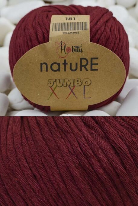 HOBİTU YARNS - HOBİTU NATURE JUMBO XXL COTTON 181 Bordo