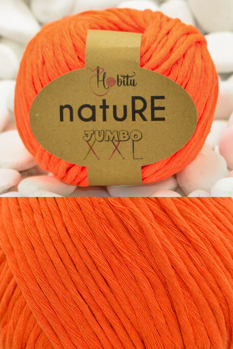 HOBİTU YARNS - HOBİTU NATURE JUMBO XXL COTTON 200 Neon Turuncu
