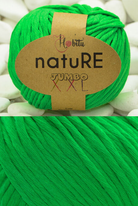 HOBİTU YARNS - HOBİTU NATURE JUMBO XXL COTTON 202 Neon Yeşil