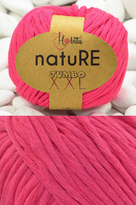 HOBİTU YARNS - HOBİTU NATURE JUMBO XXL COTTON 203 Neon Pembe