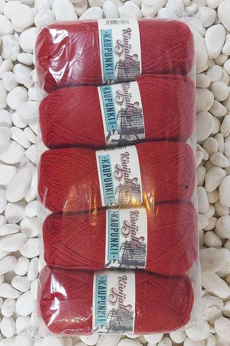 - İHRAC FAZLASI İP KAUPUNKI 207 Kırmızı 5 Yumak (500 gr)